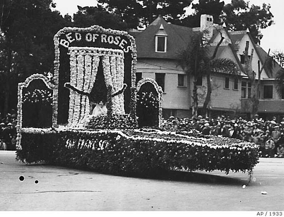 "San Francisco's entry in the 1933 Tournament of Roses float competition, a literal ""Bed of Roses,"" wins first place. Associated Press File Photo, 1933"