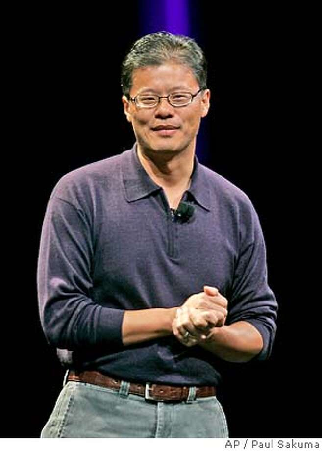 Yahoo! co-founder Jerry Yang speaks at MacWorld Conference & Expo in San Francisco, in this Tuesday, Jan. 9, 2007 photo. Yahoo Inc. Chairman Terry Semel ended his six-year tenure as chief executive officer Monday and will hand over the reins to Yang in the Internet icon's latest attempt to regain investor confidence.(AP Photo/Paul Sakuma) JAN. 9, 2007 PHOTO Photo: PAUL SAKUMA