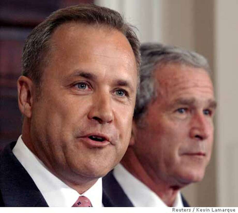 Former Iowa Rep. Jim Nussle (L) speaks in the Roosevelt Room of the White House in Washington after U.S. President George W. Bush (R) named him to replace White House budget director Rob Portman who stepped down June 19, 2007. REUTERS/Kevin Lamarque (UNITED STATES)  Ran on: 06-20-2007  Jim Nussle, a Republican ex-lawmaker from Iowa, has been tapped as the new budget director. Photo: KEVIN LAMARQUE