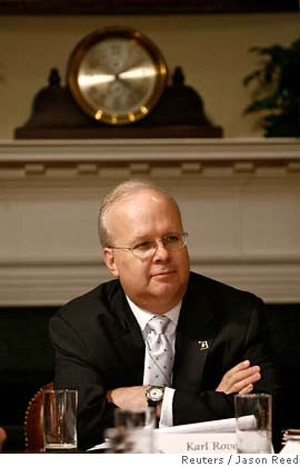 White House strategist Karl Rove is pictured at the end of a roundtable meeting on financial literacy chaired by U.S. President George W. Bush (not pictured) in the Roosevelt Room of the White House in Washington April 25, 2007. REUTERS/Jason Reed (UNITED STATES)  Ran on: 05-05-2007  Gonzales Photo: JASON REED