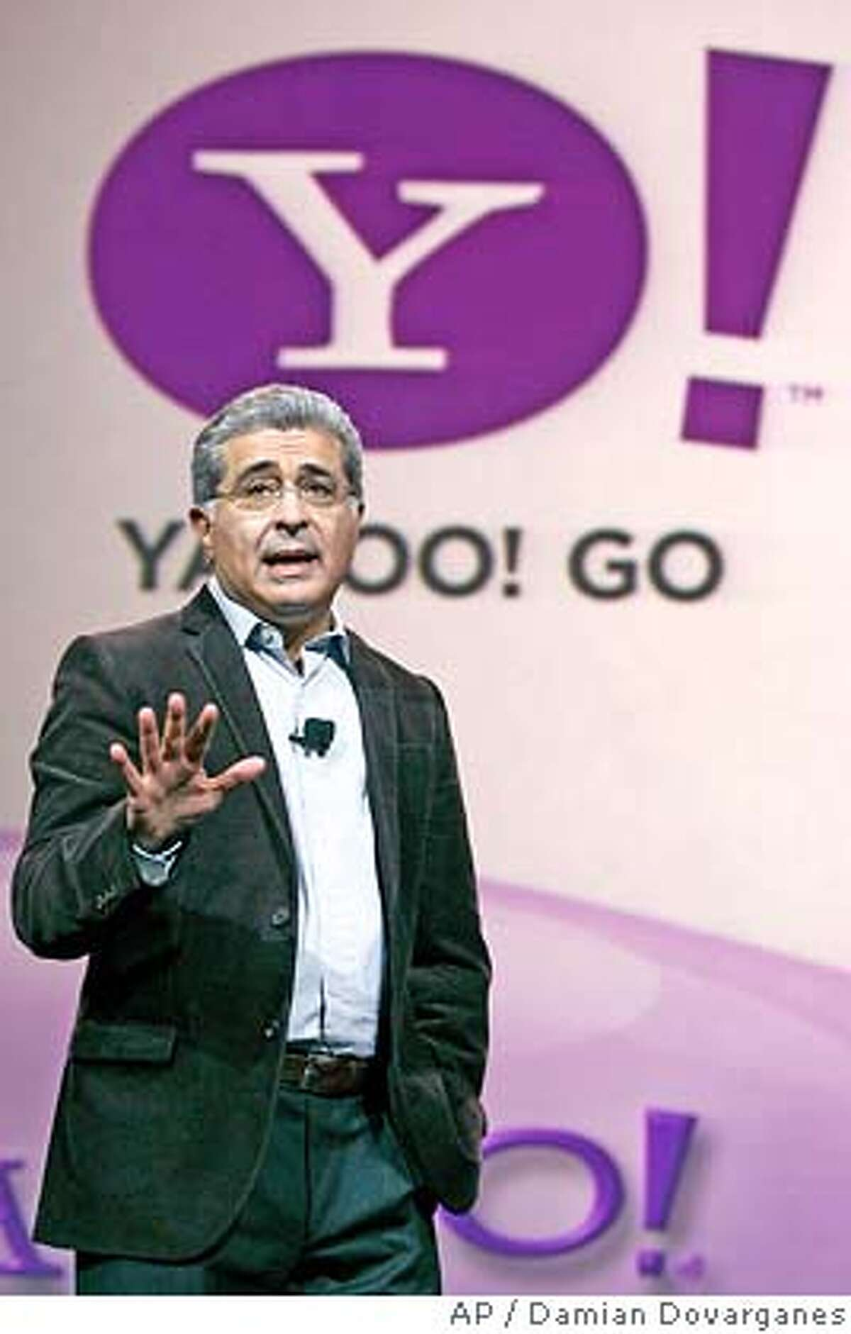 **FILE** Yahoo CEO Terry Semel delivers a speech in this file photo, Friday, Jan. 6, 2006 at the International Consumer Electronics Show, CES, in Las Vegas. Semel ended his six-year stint as chief executive officer Monday, June 18, 2007, and will hand over the reins to co-founder Jerry Yang in the Internet icon's latest attempt to regain investor confidence. Semel, 64, will remain chairmain in a non-executive role. (AP Photo/Damian Dovarganes)