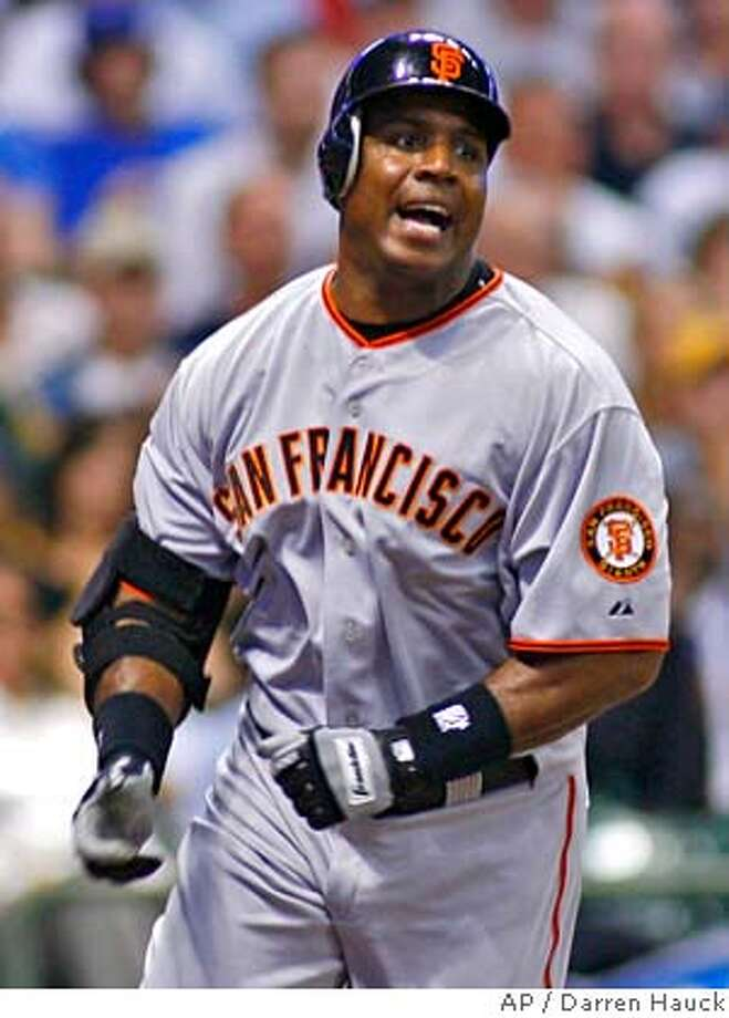 San Francisco Giants' Barry Bonds grounds out to the Milwaukee Brewers in the eighth inning of a baseball game Monday, June, 18, 2007 in Milwaukee. (AP Photo/Darren Hauck) Photo: Darren Hauck