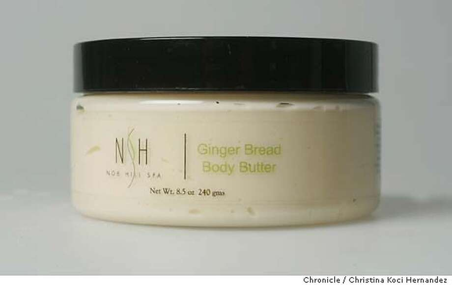 Ginger Bread Body Butter, $18, Nob Hill Spa, 1075 California St. The secret to this cream's super moisturizing power? Pumpkin pulp, with lots of clove and cinnamon oils. It's also part of the spa's Gingerbread Sugar Scrub treatment ($120), available through January, which includes a cup of gingerbread chai tea and cookies post-exfoliation and massage. Chronicle photo by Christina Koci Hernandez
