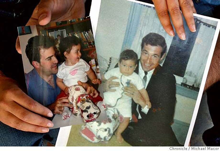 fathers17_021_mac.jpg (Photoograph on left), is her husband Mel Waldorf holding their daughter Natasha at age 1, (photograph on right), is Jessica's father Stephen Wolpov holding her at 8 months old. Jessica Lindsey, of Alameda says her husband, Mel Waldorf, has features very similar to her father's. Father-daughter relationships and how they affect the men that women are attracted to. Story is based on a study that came out this week, suggesting that women who had good relationships with their fathers tend to be atttracted to men who look similar to their fathers. Photographed in, Alameda, Ca, on 6/15/07. Photo by: Michael Macor/ The Chronicle Mandatory credit for Photographer and San Francisco Chronicle No sales/ Magazines Out Photo: Michael Macor