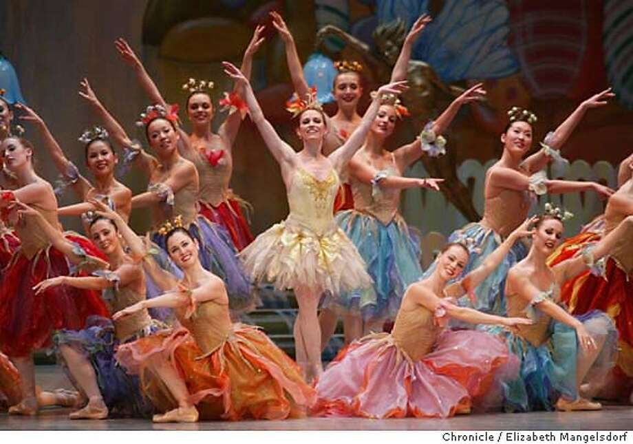"46FB0133.JPG Event on 11/28/03 in San Francisco.  Tina LeBlanc, as the ""Butterfly"" (standing center) dances during the second act of the Nutcracker during a dress rehearsal for the SF Ballet.  Dress rehearsal for the San Francisco Ballet's nutcracker at the war memorial opera house.  LIZ MANGELSDORF / The Chronicle MANDATORY CREDIT FOR PHOTOG AND SF CHRONICLE/ -MAGS OUT Photo: LIZ MANGELSDORF"