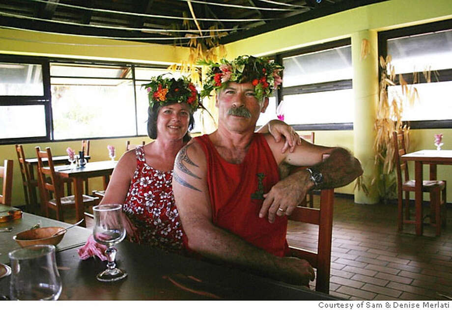 TRAVEL JUSTBACK -- Sam & Denise Merlati, Gualala, Ca  JUNE 24, 2007  Email: melco6969@sbcglobal.net  Daytime phone number: 707-884-4836 Just back from: Papeete, Tahiti I went because: We got married on Veterans day and wanted to take our middle aged bones to a tropical paradise and swim in the warm waters Don't miss: The Motu Parataito [Paradise Island] in Paea a few miles up the coast of Tahiti. A great restaurant/bar run by a young French chef Benjamin Salou. Don't bother: Staying at the big expensive Hotels. They are mostly filled with the people you need a vacation from. Coolest souvenir: We each got a polynesian tatoo. Bargain priced black pearl necklaces made by elderly Tahitian ladies at an artisan cooperative. Worth a splurge: Massage by the lovely Dedhera at the Moorea Pearl Resort. I wish I'd packed: More money! And small gifts to give to new friends. Other comments: Lodging at the Moana Iti was a beautiful and comfortable bargain. Breakfast at the Pension in Papara with owners August and Henrieta was informative. Details of attached photo (if sent): Sam and Denise Merlati in the Motu Parataito C_Documents and SettingsSamuel MerlatiMy DocumentsMy Picturesadd foto.jpg  2/12/07 in , . Photo: Ho