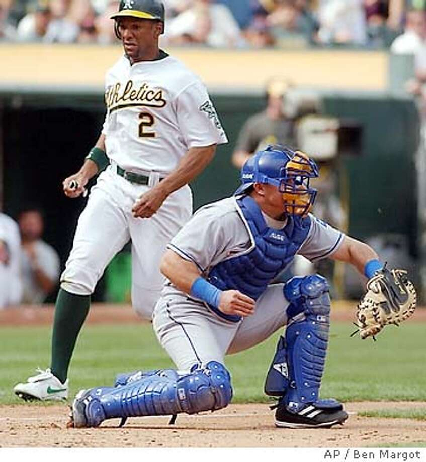 Oakland Athletics' Chris Singleton (2) scores behind Texas Rangers' catcher Einar Diaz in the seventh inning Wednesday, Sept. 24, 2003, in Oakland, Calif. Singleton scored on a hit by teammate Esteban German. The A's won the game, 5-3. (AP Photo/Ben Margot) Photo: BEN MARGOT