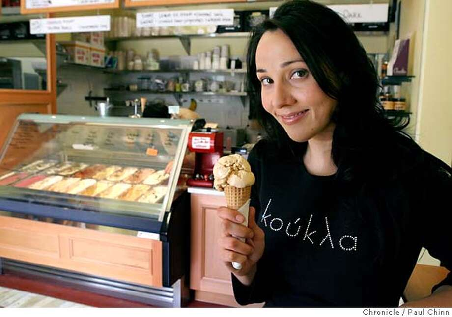 Pastry chef Marisa Churchill enjoys a salted caramel ice cream cone at her favorite spot, Bi-Rite Creamery, in San Francisco, Calif. on Tuesday, February 20, 2007.  PAUL CHINN/The Chronicle MANDATORY CREDIT FOR PHOTOGRAPHER AND S.F. CHRONICLE/NO SALES - MAGS OUT Photo: PAUL CHINN