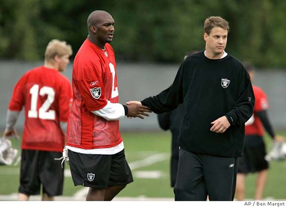 **FILE** Oakland Raiders quarterback JaMarcus Russell, left, the No.1 overall pick in the NFL draft, shakes hands with coach Lane Kiffin during football mini-camp in this May 4, 2007 file photo in Alameda, Calif. The Raiders ended their offseason workouts with a very different look than the group Kiffin had at his first practice in March. (AP Photo/Ben Margot, File) MAY 4, 2007 FILE PHOTO Photo: Ben Margot
