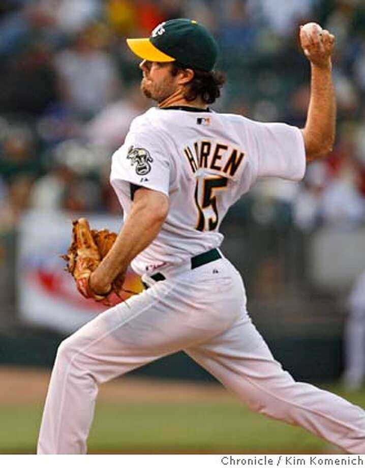 A's pitcher Dan Haren throws in the first inning as the Athletics play the St. Louis Cardinals in Oakland Friday night.  Photo by Kim Komenich/The Chronicle  **Dan Haren Photo: Kim Komenich