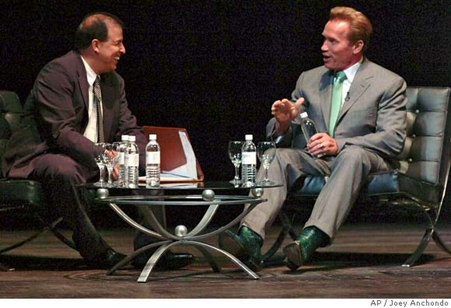California Gov. Arnold Schwarzenegger greets the audience at a sit-down dialogue with moderator Rick Rodriguez, left, executive editor of the Sacramento Bee, during the opening plenary of the National Association of Hispanic Journalists Conference in San Jose, Calif., on Wednesday, June 13, 2007. (AP Photo/Joey Anchondo) ** NO SALES ** JUNE 13, 2007 PHOTO Photo: Joey Anchondo