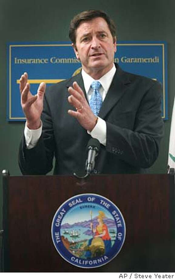 California Insurance Commissioner John Garamendi outlines new regulations he plans to introduce, during a news conference in Sacramento, Calif., Thursday, Dec. 22, 2005.(AP Photo/Steve Yeater) Ran on: 12-23-2005  Insurance Commissioner John Garamendi outlines proposals. Photo: STEVE YEATER
