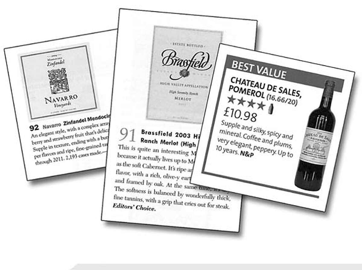 The rating systems for (left to right) Wine Spectator, Wine Enthusiast and Decanter.