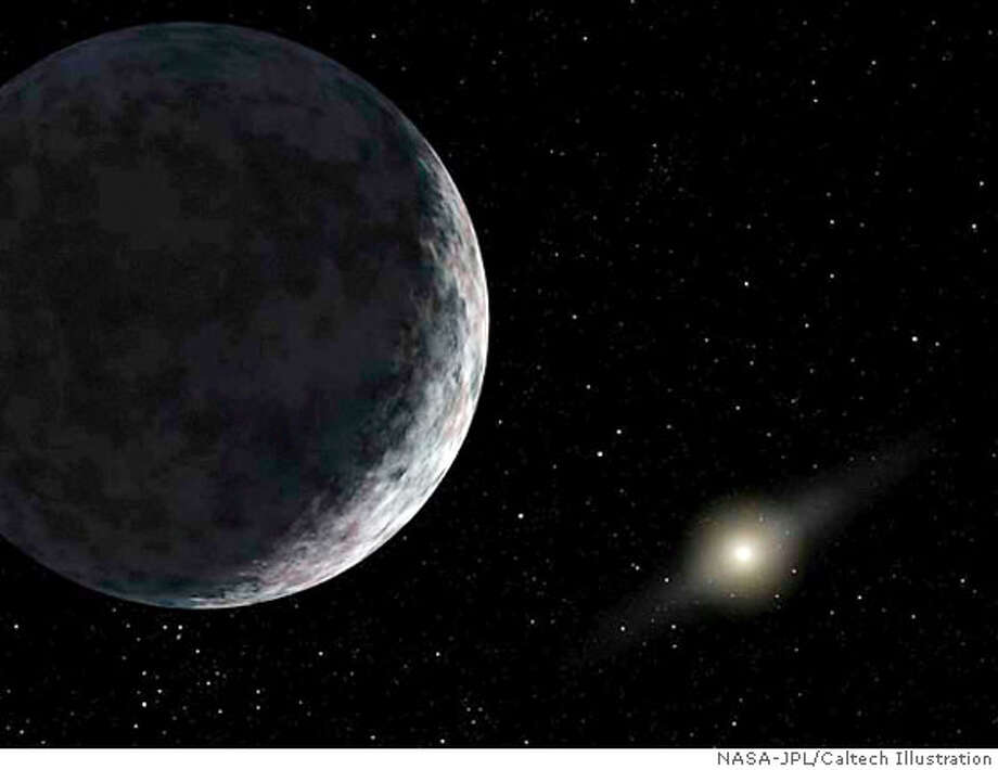 An artist's concept depicts the distant dwarf planet known as Eris. Calculations published on June 14, 2007 show the distant world that astronomers no longer deem a planet is not even the largest of our solar system's so-called dwarf planets -- it is smaller than the recently discovered dwarf planet Eris. REUTERS/NASA-JPL/Caltech/Handout (UNITED STATES). EDITORIAL USE ONLY. NOT FOR SALE FOR MARKETING OR ADVERTISING CAMPAIGNS. Photo: HO