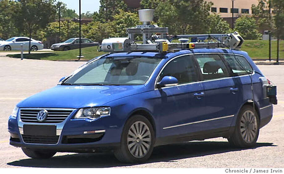 Stanford's robot vehicle -- a 2006 VW Passat turbo-diesel wagon nicknamed 'Junior' -- carries a rack of high-powered Intel computers running artificial-intelligence software which allows it to negotiate an obstacle course without human guidance. Image from Chronicle video by James Irwin