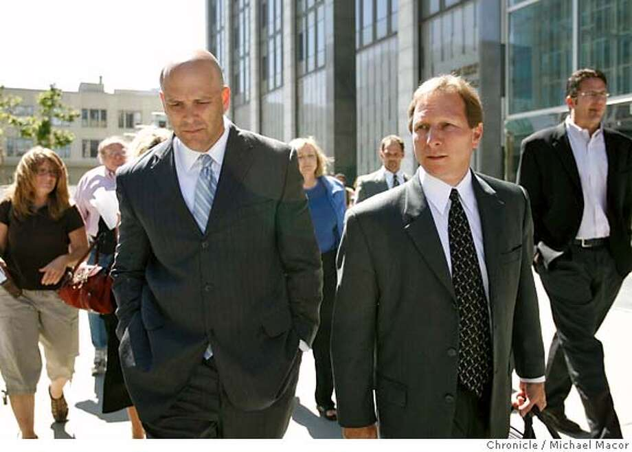 Troy Ellerman, left leaves Federal Court in San Francisco with his attorney Scott Tedman, following the judge's rejection of the plea agreement. The sentencing hearing for Troy Ellerman, the attorney who leaked the Grand Jury Investigation into the BALCO case. The judge in the case,firmly rejected the plea agreement today in Federal Court. (cq) Scott Tedman Troy Ellerman Photographed in, San Francisco, Ca, on 6/14/07. Photo by: Michael Macor/ The Chronicle Photo: Michael Macor