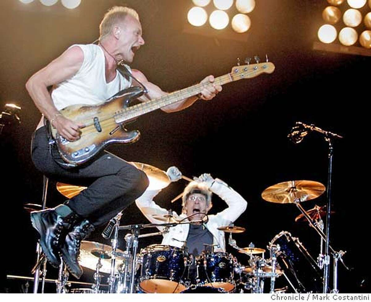 Sting leaps though the air at big stadium concert by the reunited Police at the Coliseum in Oakland. PHOTO: Mark Costantini / The Chronicle MANDATORY CREDIT FOR PHOTOGRAPHER AND SAN FRANCISCO CHRONICLE/NO SALES-MAGS OUT