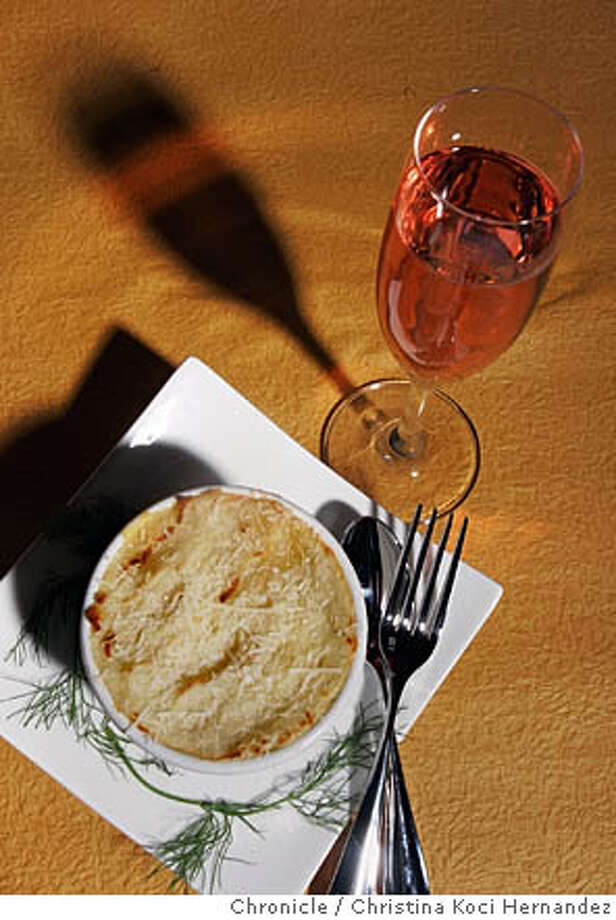 CHRISTINA KOCI HERNANDEZ/CHRONICLE  Please shoot fish pie, to go with domestic pink sparkling wines. Photo: CHRISTINA KOCI HERNANDEZ