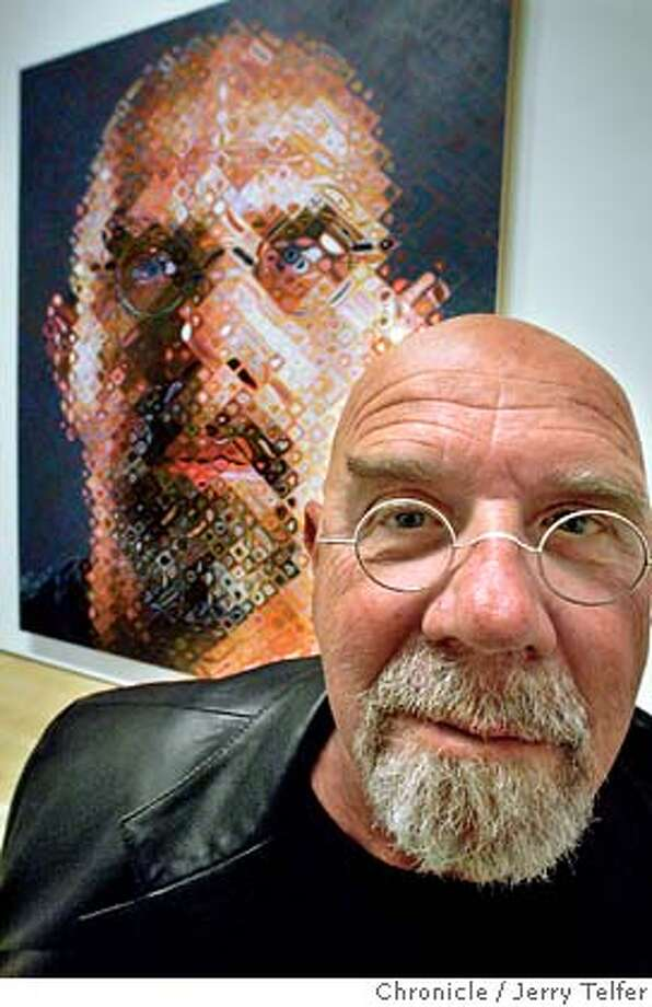 "close_013_jlt.jpg Painter Chuck Close at SFMOMA in front of his 2000-2001 oil on canvas ""Self-Portrait,"" one of an extensive collection of self portraits in the exhibit. JERRY TELFER on 11/19/05 Photo: JERRY TELFER"