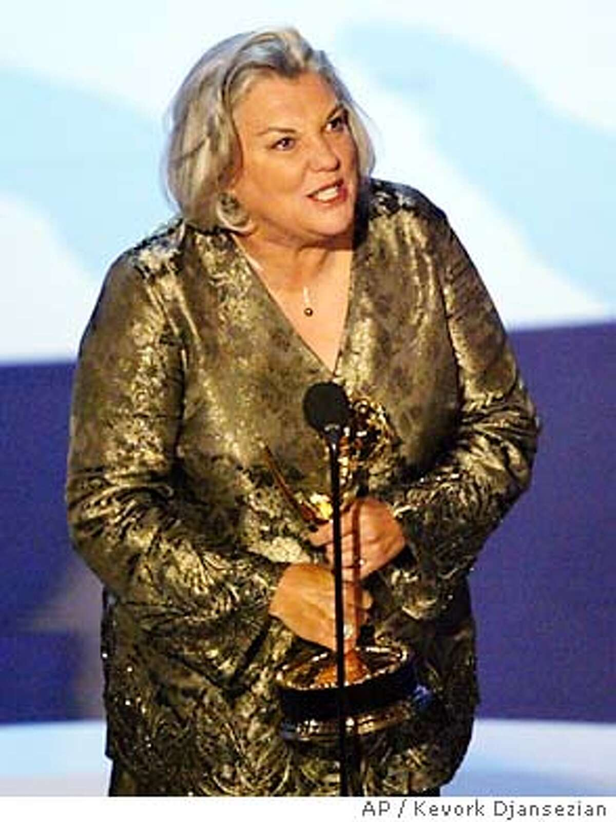 Tyne Daly accepts the award for outstanding supporting actress in a drama series for her work on Judging Amy at the 55th Annual Primetime Emmy Awards Sunday, Sept. 21, 2003, at the Shrine Auditorium in Los Angeles. (AP Photo/Kevork Djansezian)