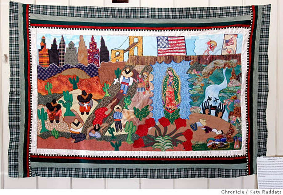"""QUILTING_005_RAD.JPG SHOWN: A quilt by Angeles Segura, a member of the quilters class, called """"The Great Risk."""" It shows her family's dangerous and deadly border crossing to the USA, when her mother died in the desert, the children cried, and the father had no consolation. Quilts hanging at Lola's Mexican Restaurant in Boonville, CA. Quilting class that will be offered by the Anderson Valley Adult School in August. The quilting project that inspired this class has produced quilts that are like wall hangings, and are being exhibited more and more widely. The quilters call themselves, """"Los Hilos de la Vida---The Threads of Life."""" Photo taken on 7/11/05, in Boonville, CA.  By Katy Raddatz / The San Francisco Chronicle MANDATORY CREDIT FOR PHOTOG AND SF CHRONICLE/ -MAGS OUT Photo: Katy Raddatz"""