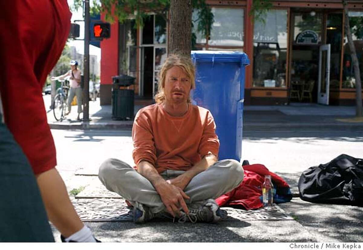 """berkeley14000144.JPG Berkeley homeless man of 5 years who says he occasional panhandles, Kevin Foley hangs out on Telegraph Avenue in Berkeley. He may be breaking the law based on the new Public Commons"""" measure in Berkeley. - Berkeley City Council approved the measure Tuesday as part of a crackdown on aggressive and disruptive street behavior on Berkeley Streets. Mike Kepka / The Chronicle Kevin Foley (cq) MANDATORY CREDIT FOR PHOTOG AND SF CHRONICLE/NO SALES-MAGS OUT"""