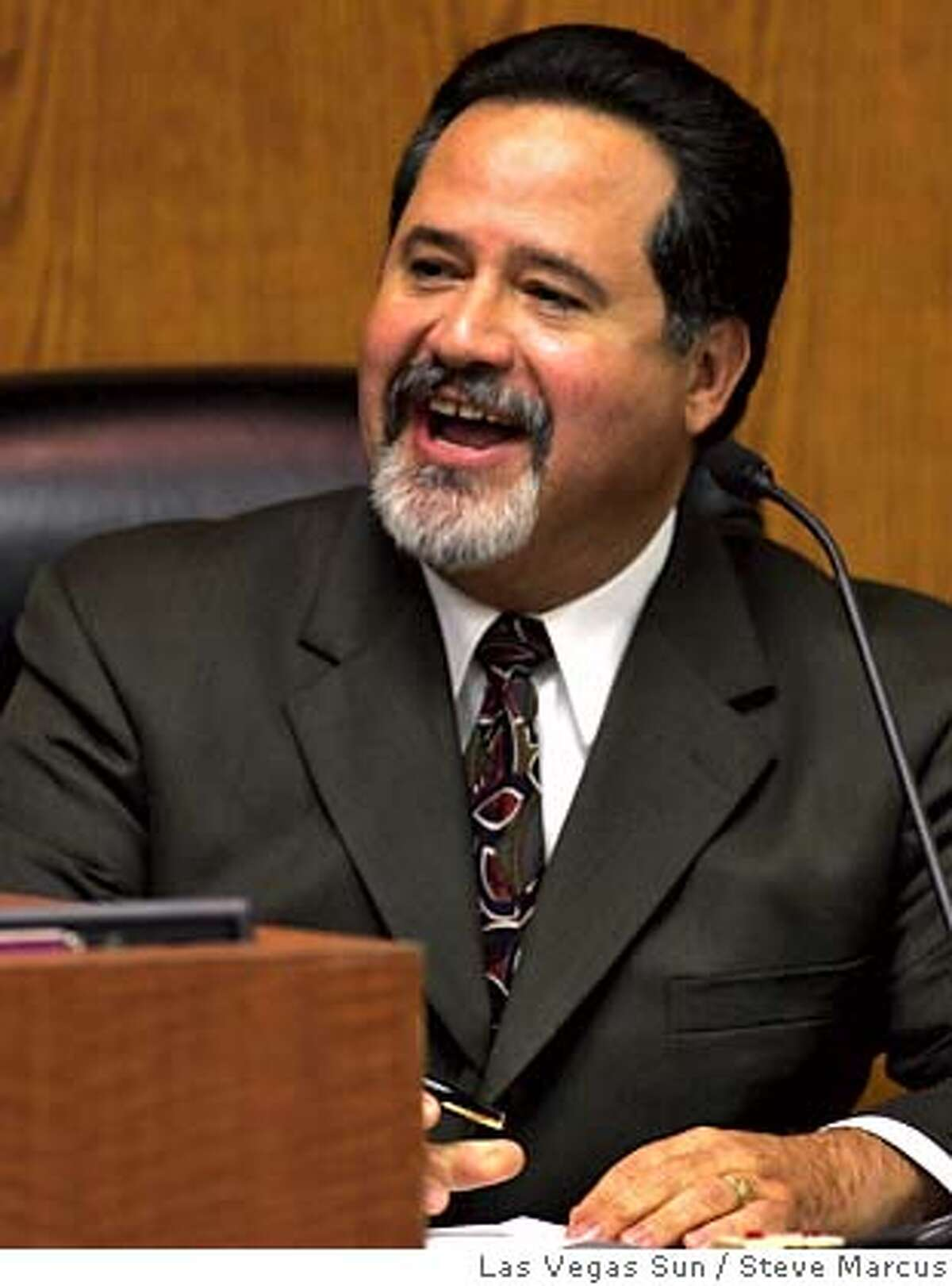 Clark County School Superintendant Carlos Garcia speaks during a school board meeting Wednesday, January 5, 2005. After a brief open meeting, board members went into a closed session to discuss Garcia's evaluation. STEVE MARCUS / LAS VEGAS SUN