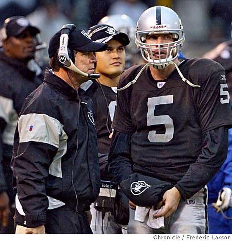 RAIDERS_519_fl.jpg Raiders head coach Norv Turner huddles with his quarterbacks Kerry Collins and Marques Tuiasosopo while their fade was waiting in the hands of a possible fumble that was overturned for the Browns. Oakland Raiders come up short to the Cleveland Browns on a last second field goal where the Browns edged the Raiders 9-7 at McAfee Coliseum in Oakland. 12/18/05 Oakland CA Frederic Larson San Francisco Chronicle Photo: Frederic Larson