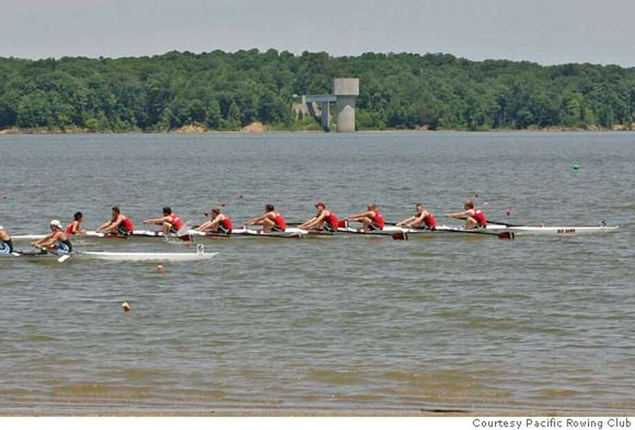 The Pacific Rowing Club's varsity eight draws within 20 feet of the finish line at the 2007 US Rowing Nationals in Cincinnati. The crew won the race.  Photo courtesy Pacific Rowing Club Photo: Handout