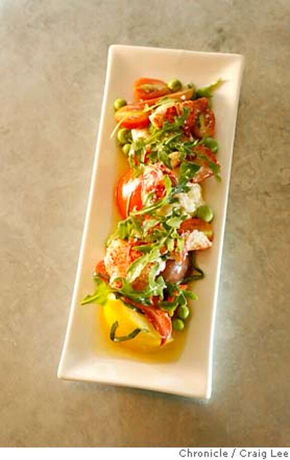 SALAD13_050_cl.JPG  Photo of Maine Lobster Salad at Bar Crudo restaurant, 603 Bush Street in San Francisco. Maine Lobster Salad with English Peas, Heirloom Tomatoes, Burrata Cheese, Banyuis Vinaigrette and Wild Arugula.  Event on 6/4/07 in San Francisco. photo by Craig Lee / The Chronicle MANDATORY CREDIT FOR PHOTOG AND SF CHRONICLE/NO SALES-MAGS OUT Photo: Photo By Craig Lee