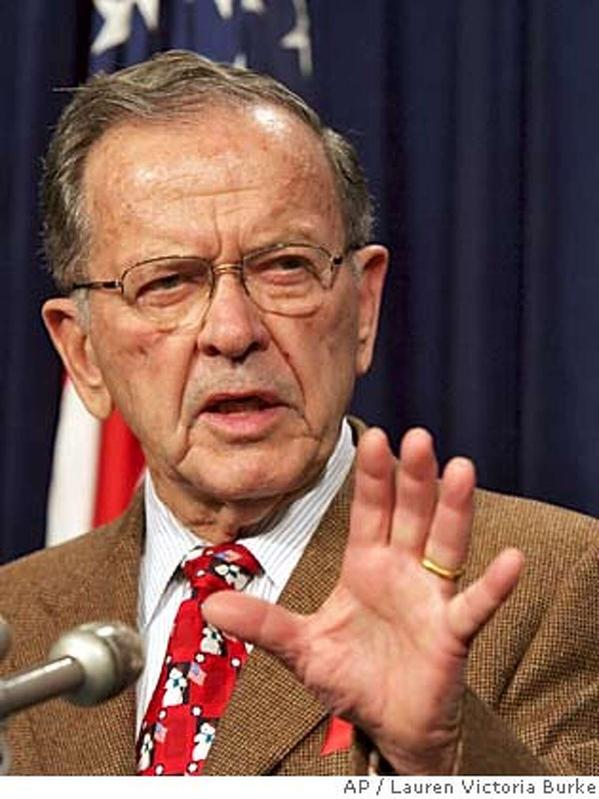Sen. Ted Stevens, R-Alaska, speaks during a news conference in Washington, D.C. Monday, Dec. 19, 2005. After the House gave a go-ahead to drilling for oil in Alaska's Arctic National Wildlife Refuge as part of a defense spending bill, Democrats and moderate Republicans scrambled Monday in the Senate to try to block the measure crafted by Stevens, an ardent supporter of developing the refuge's oil. A Senate vote on the matter was likely by Wednesday. (AP Photo/Lauren Victoria Burke)