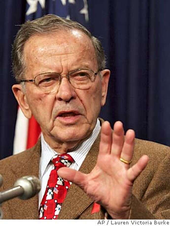 Sen. Ted Stevens, R-Alaska, speaks during a news conference in Washington, D.C. Monday, Dec. 19, 2005. After the House gave a go-ahead to drilling for oil in Alaska's Arctic National Wildlife Refuge as part of a defense spending bill, Democrats and moderate Republicans scrambled Monday in the Senate to try to block the measure crafted by Stevens, an ardent supporter of developing the refuge's oil. A Senate vote on the matter was likely by Wednesday. (AP Photo/Lauren Victoria Burke) Photo: LAUREN VICTORIA BURKE