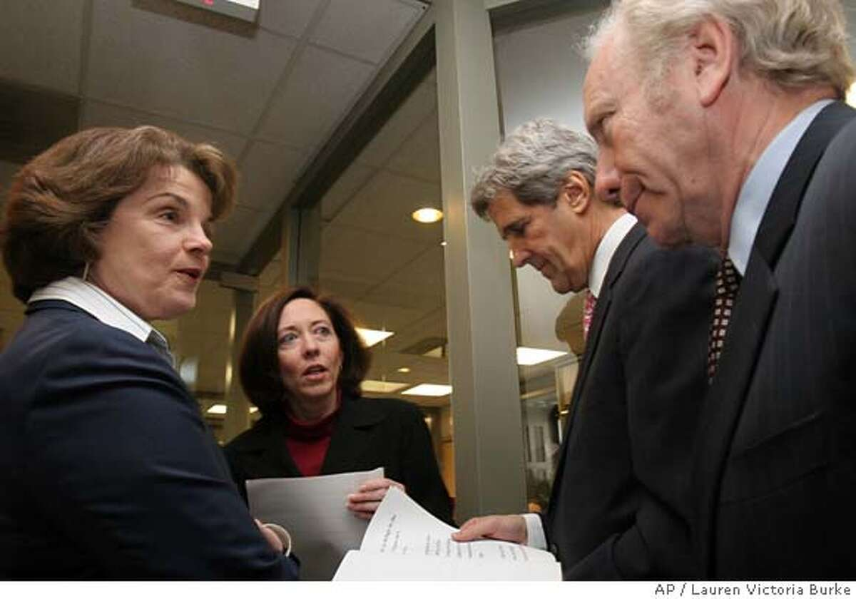 Senators, from left, Dianne Feinstein, D-Calif., Maria Cantwell, D-Wash., John Kerry, D-Mass. and Joseph Lieberman, D-Conn. prepare for a Capitol Hill news conference, Monday, Dec. 19, 2005 to protest a move by Sen Ted Stevens, R-Alaska to include an Arctic drilling provision in the Defense Appropriations Bill. (AP Photo/Lauren Victoria Burke)