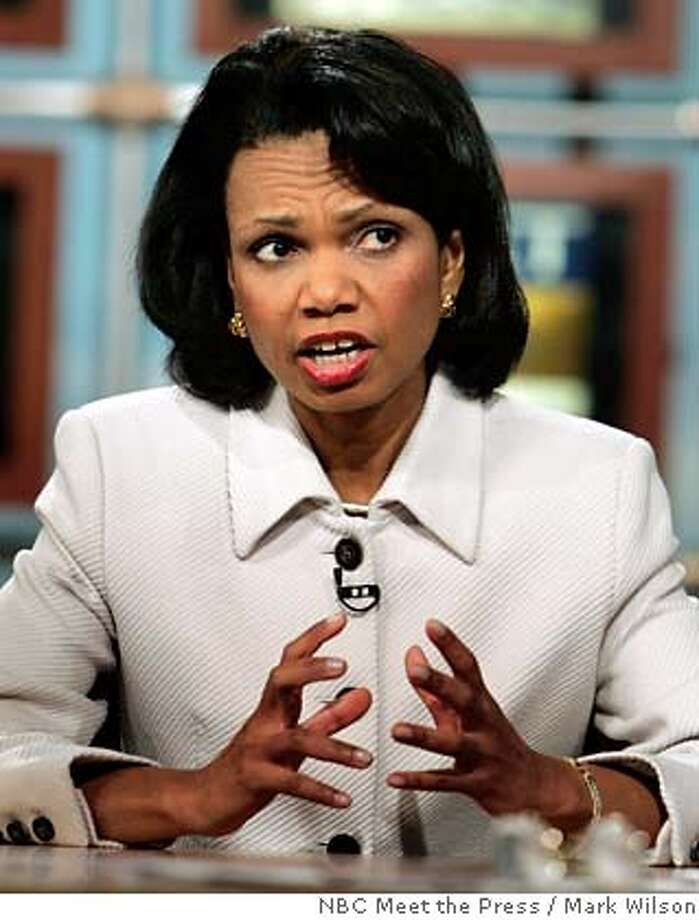 "U.S. Secretary of State Condoleezza Rice speaks during a taping of NBC's ""Meet the Press"" at the NBC studios Sunday, Dec. 18, 2005, in Washington. Rice spoke about the Iraqi elections and U.S. troops in Iraq, and said Sunday that public disclosure of surveillance programs used to wage the war on terror damages those efforts. (AP Photo/NBC Meet the Press, Mark Wilson) ** MANDATORY CREDIT NO ARCHIVES ** NO ARCHIVE MUST USE BEFORE DECEMBER 25, 2005 MANDATORY CREDIT: MEET THE PRESS, ALEX WONG Photo: MARK WILSON"