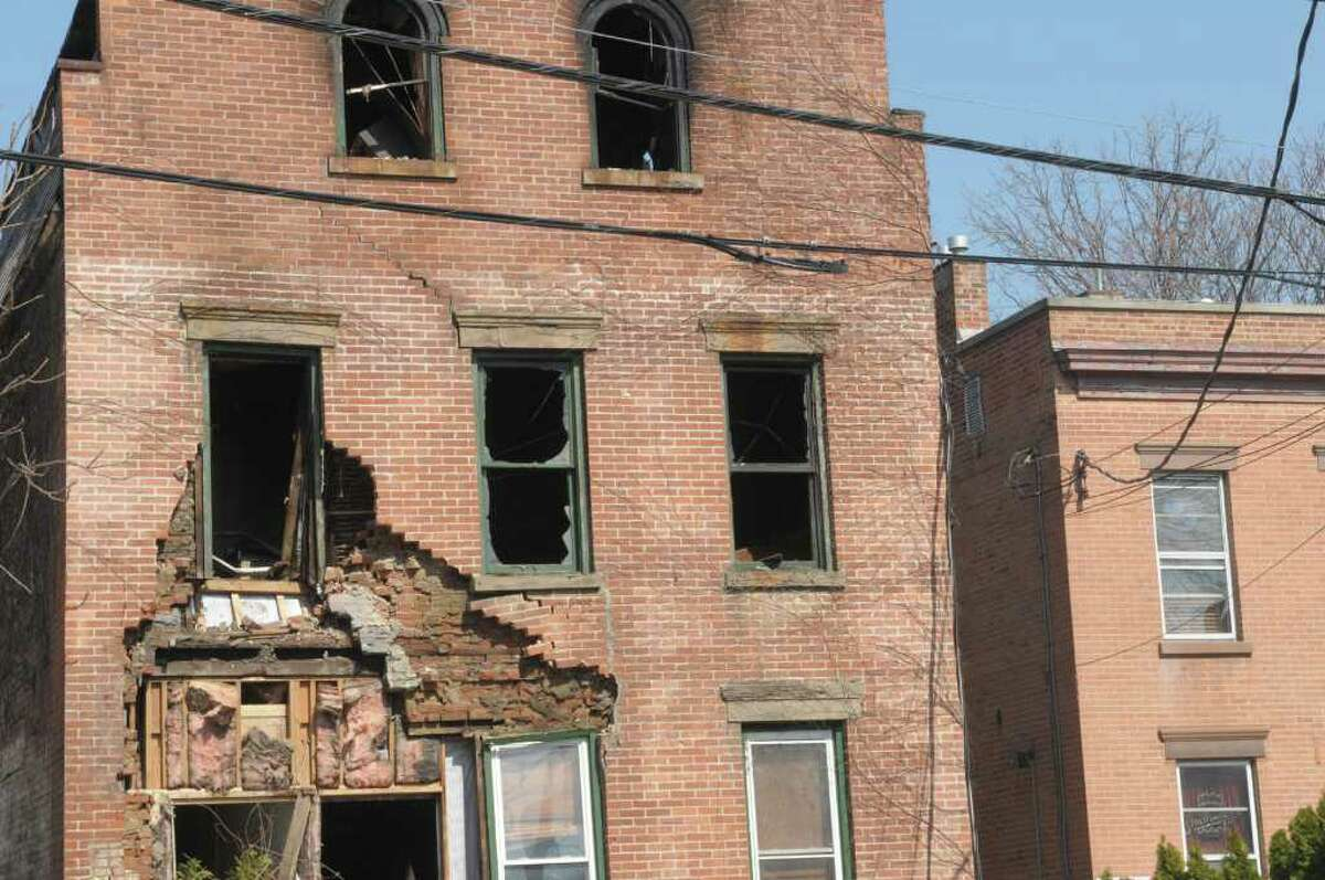A view of a structure at 605 Union Street that sustained fire damage, seen here on Sunday, March 18, 2012 in Schenectady, NY. The fire was called in at 5:20 a.m. Saturday and gutted the inside of the building. No one was inside at the time of the blaze, said Schenectady Deputy Fire Chief Raymond Senecal. The cause of the fire is still under investigation. (Paul Buckowski / Times Union)