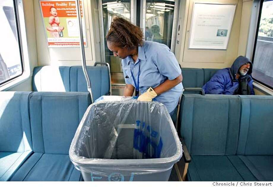 BART_0195_cs.jpg Event on 6/12/07 in Daly City.  End of line employee Theresa Williams, 55, rushes to clean a BART car at the Daly City BART station. Photographed June 16, 2007.  Chris Stewart / San Francisco Chronicle MANDATORY CREDIT FOR PHOTOG AND SF CHRONICLE/NO SALES-MAGS OUT Photo: Chris Stewart