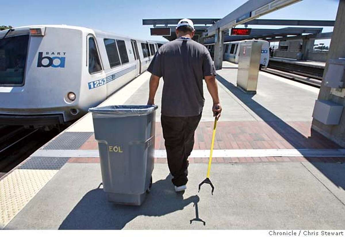 BART_0058_cs.jpg Event on 6/12/07 in Daly City. End of line employee Mike Coniglio, 36, awaits the arrival of a BART train before a mad dash to clean it at the Daly City BART station. Photographed June 16, 2007. Chris Stewart / San Francisco Chronicle MANDATORY CREDIT FOR PHOTOG AND SF CHRONICLE/NO SALES-MAGS OUT