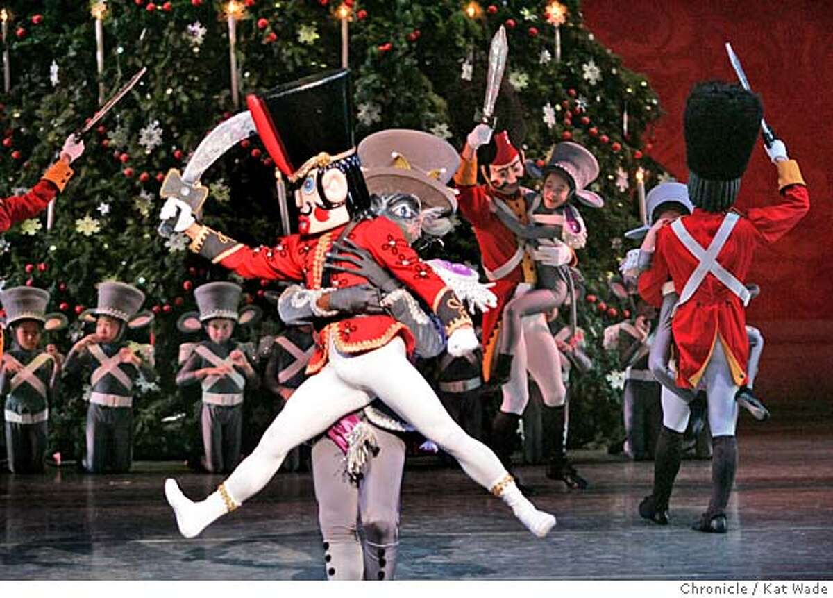 SJNUT_0084_KW_.jpg On 12/14/05 in San Jose, the battle begin between the Mouse King played by Daniel Gwatkin (CQ) and The Nutcracker/Prince Alexis played by Travis Walker during dress rehearsal of the Ballet San Jose Silicon Valley Dennis Nahat's The Nutcracker which opens tomorrow, December 15th, at the San Jose Center for the Performing Arts. Kat Wade/The Chronicle MANDATORY CREDIT FOR PHOTOG AND SF CHRONICLE/ -MAGS OUT