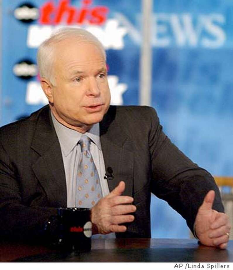 "Sen John Mccain, R-Ariz., is interviewed on ABC's ""This Week"" in Washington, Sunday, Dec. 18, 2005. McCain, who pushed the White House to support a ban on torture, suggested Sunday that harsh treatment of a terrorism suspect who knew of an imminent attack would not violate international standards. (AP Photo/ABC This Week, Linda Spillers) ** MANDATORY CREDIT NO ARCHIVES ** NO ARCHIVE MANDATORY CREDIT: ABC THIS WEEK Photo: LINDA SPILLERS"