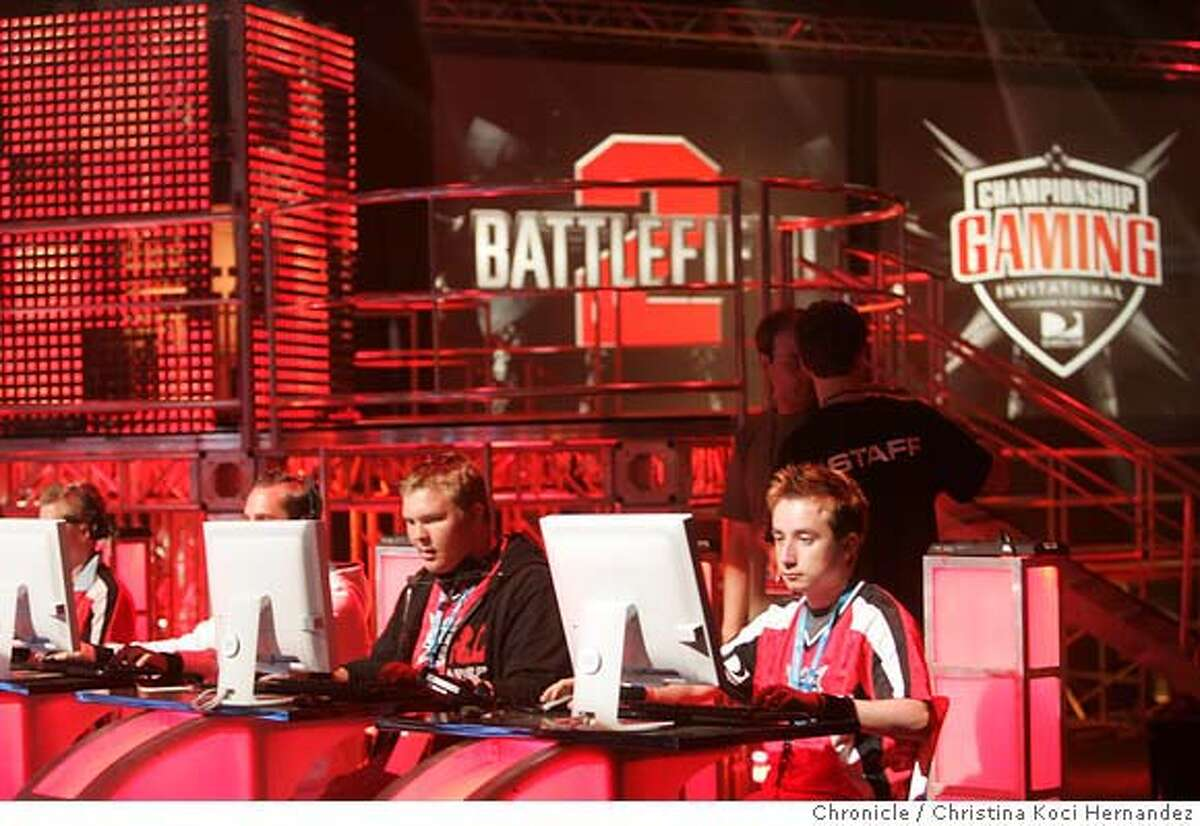 Contestants sit at computer screens and practice during a rehearsal of the DirecTV and IGN, a gaming website, are teaming up and putting on a huge professional video game tournament on Treasure Island Friday and Saturday. What makes this unique is that this will be the first time a US pro gaming match will be covered much like a NFL game or NASCAR race. The companies are betting that the video gaming can follow the lead of professional poker and make a splash on television. They're investing heavily in this and plan to start a league next year that will have regular television coverage of tournaments. It all starts this Friday, which wil be the first of three test tournaments before they get going next year..(CHRISTINA KOCI HERNANDEZ/THE CHRONICLE) Ran on: 07-22-2006 Ran on: 07-22-2006 Mandatory Credit For Photographer and San Francisco Chronicle/No-Sales-Mags Out
