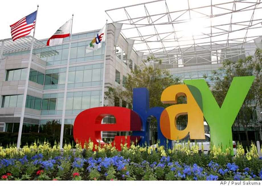 The eBay Inc. offices in San Jose, Calif., are seen Wednesday, Oct. 19, 2005. Online auction giant eBay reports third-quarter results after the market's close Wednesday. (AP Photo/Paul Sakuma) Ran on: 10-20-2005  EBay says it now expects quarterly earnings of 21 cents per share. Photo: PAUL SAKUMA