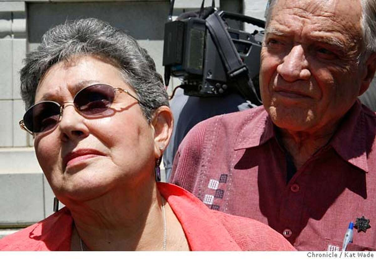 """COPSLAY12_0071_KW.JPG (L TO R) Officer Niemi's brother Jim Niemi, his Mother, Millie Niemi and father Rudie Niemi leave the court house after Irving Ramirez was sentenced to death for the 2005 murder of her husband, San Leandro Police Officer Nels """"Dan"""" Niemi on Monday June 10, 2007 in Alameda County Superior Court in Oakland. Kat Wade/The Chronicle Jim Niemi, Millie Niemi and Rudie Niemi (CQ, subject) Mandatory Credit for San Francisco Chronicle and photographer, Kat Wade, No Sales Mags out"""