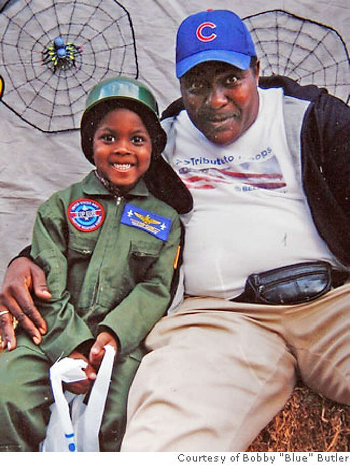 "Keonu ""Nunie"" Franklin (left) and his grandfather Bobby ""Blue"" Butler in a photo taken last year on Halloween.  Keonu ""Nunie"" Franklin, a 5-year-old boy was shot to death in his family home in East Oakland this morning under circumstances that remain unknown.The shooting, reported to police at 9:12 a.m., took place in the home on the 3900 block of Edgemoor Place in East Oakland. Officers said they are trying to determine who was taking care of the boy at the time.  Photo courtesy of Bobby ""Blue"" Butler Photo taken on 6/8/07 in Oakland, CA  ***Bobby ""Blue"" Butler Photo: Michael Maloney"