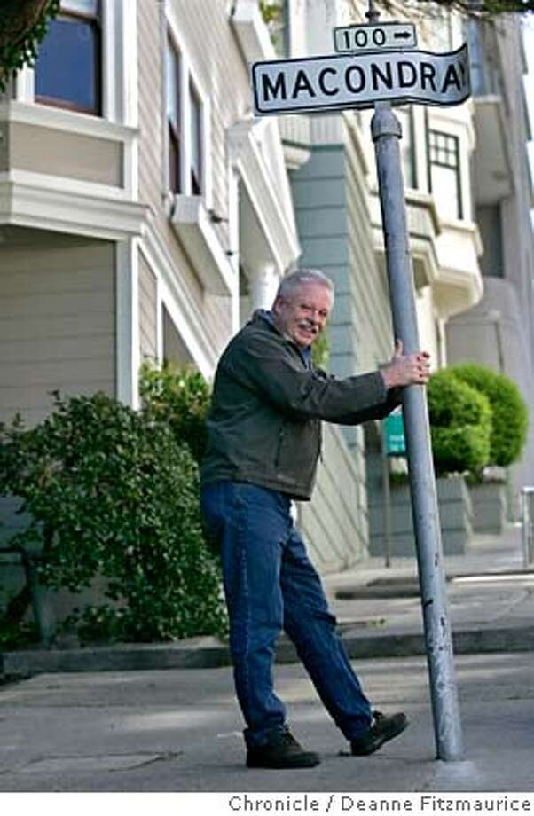 Author Armistead Maupin is photographed in 2007 on Macondray Lane, the location made famous by his series, Tales of the City. Photo: Deanne Fitzmaurice