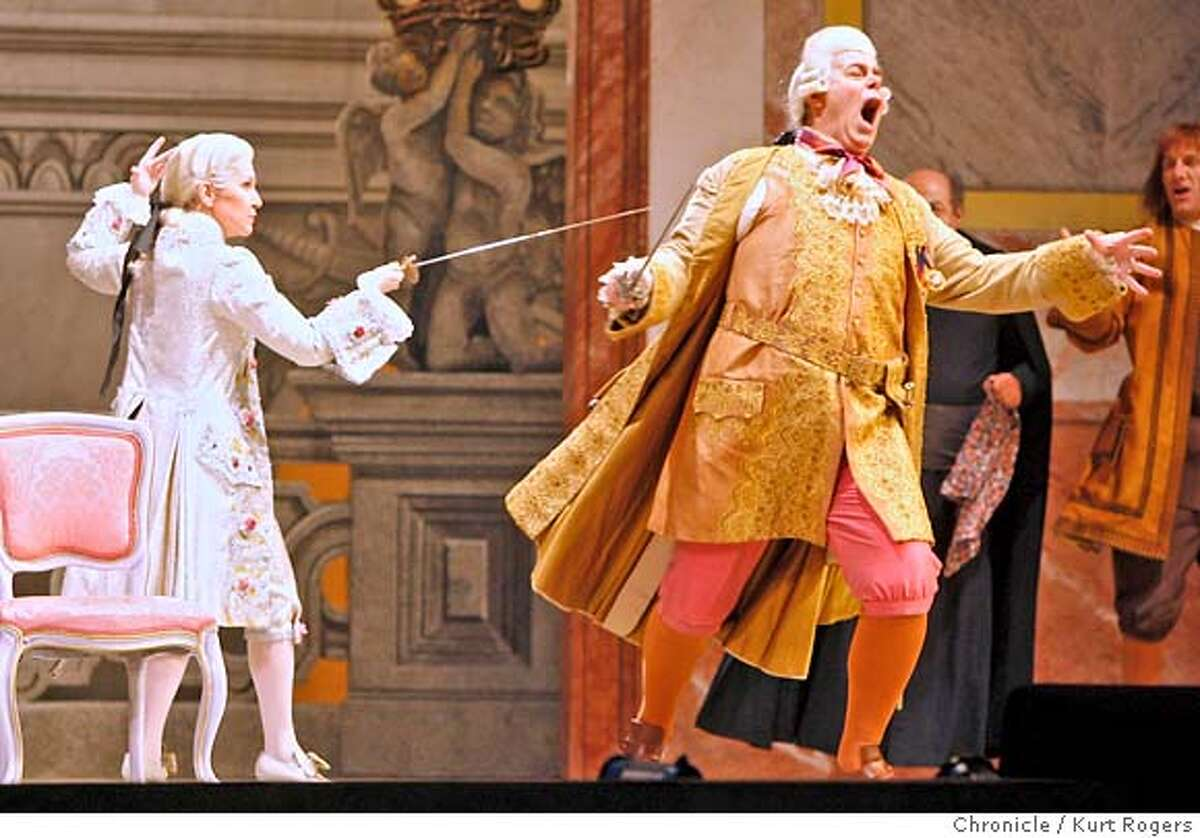 Joyce DiDonato and Kristinn Sigmundsson in ACT II Dress rehearsal for SF Opera's Der Rosenkavalier by Strauss. at the War Memorial Opera House. WEDNESDAY, JUNE 6, 2007 KURT ROGERS SAN FRANCISCO SFC THE CHRONICLE ROSEN_0294_kr.jpg MANDATORY CREDIT FOR PHOTOG AND SF CHRONICLE / NO SALES-MAGS OUT