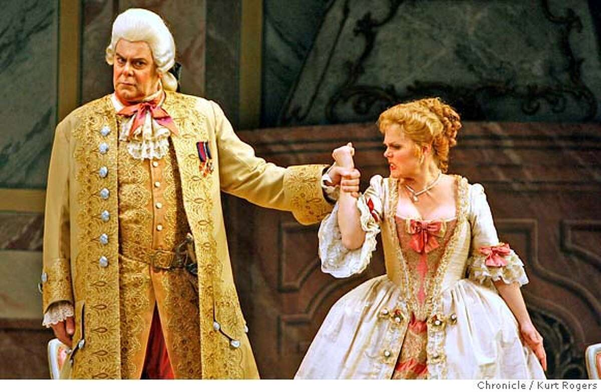 Kristinn Sigmundsson and Miah Persson in ACT II Dress rehearsal for SF Opera's Der Rosenkavalier by Strauss. at the War Memorial Opera House. WEDNESDAY, JUNE 6, 2007 KURT ROGERS SAN FRANCISCO SFC THE CHRONICLE ROSEN_0292_kr.jpg MANDATORY CREDIT FOR PHOTOG AND SF CHRONICLE / NO SALES-MAGS OUT