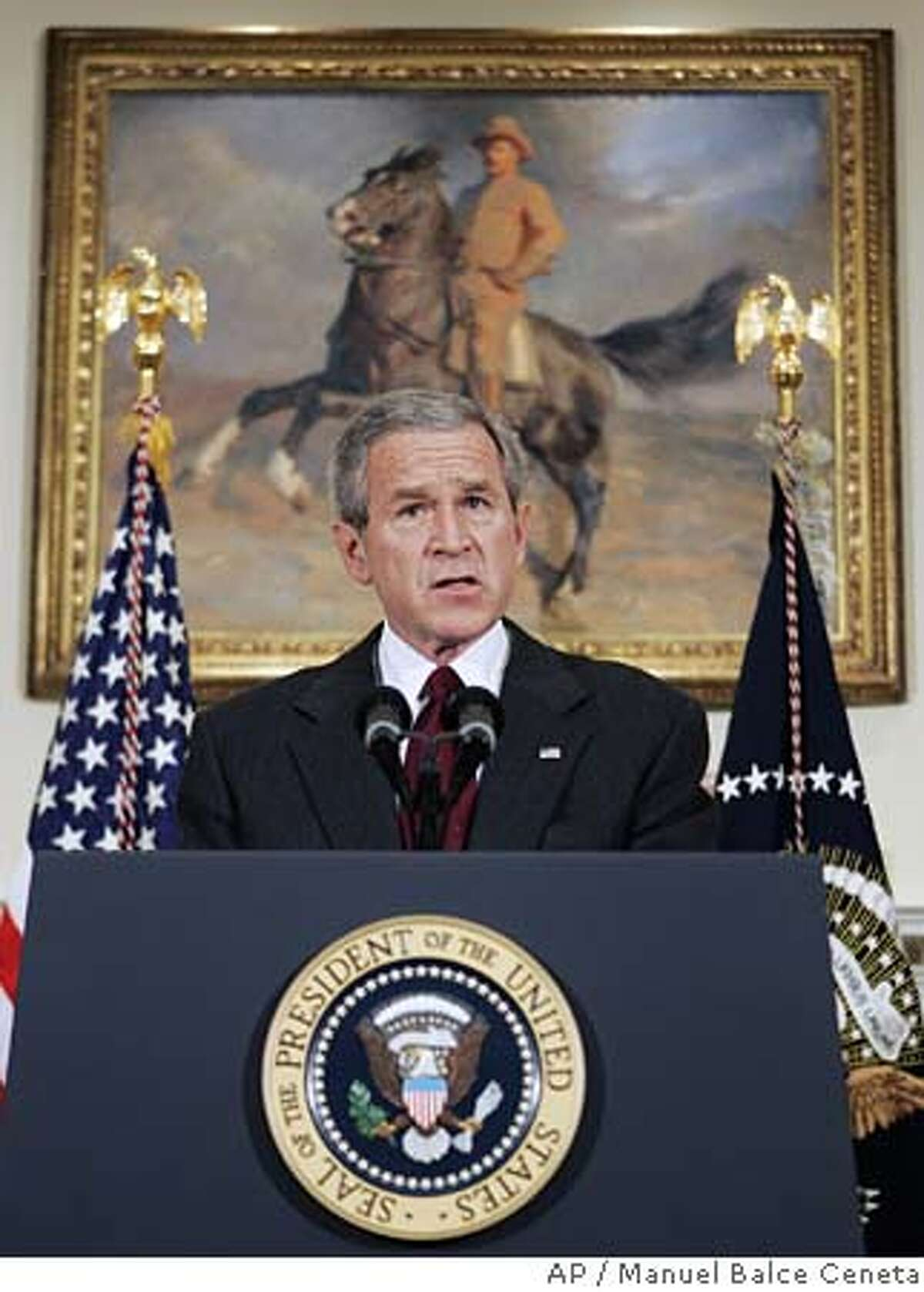 President Bush delivers his live radio address in the Roosevelt Room at the White House, Saturday, Dec. 17, 2005 in Washington. (AP Photo/Manuel Balce Ceneta)