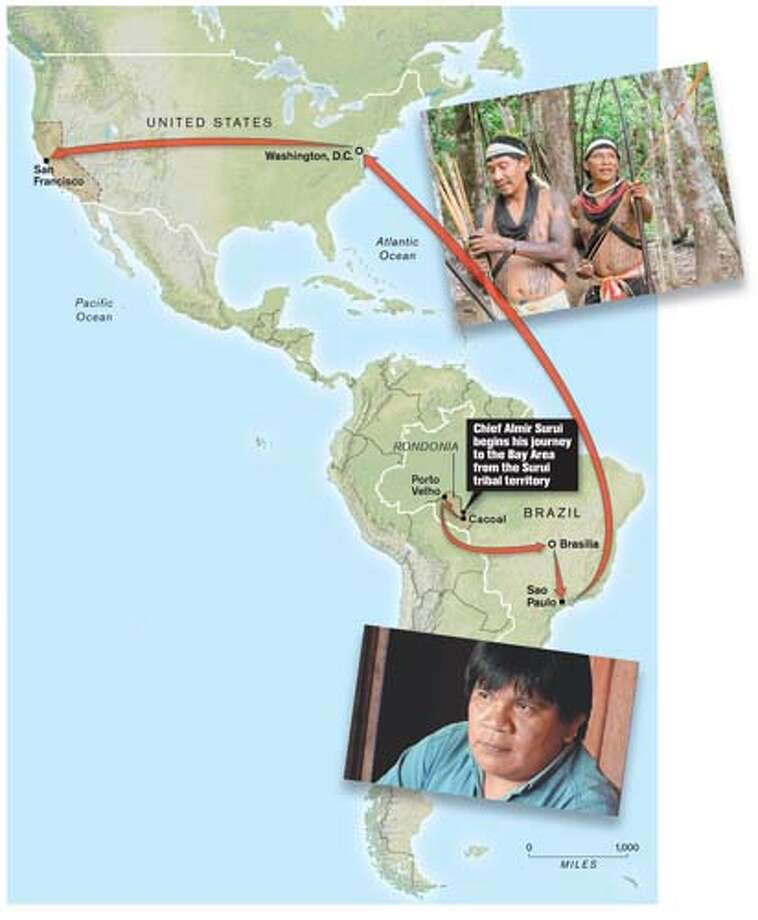 Google to harness satellite power for an Amazon tribe: When the Brazilian government failed to defend his tribe against loggers and miners, the leader found a high-tech ally. Chronicle Graphic Photo: Todd Trumbull