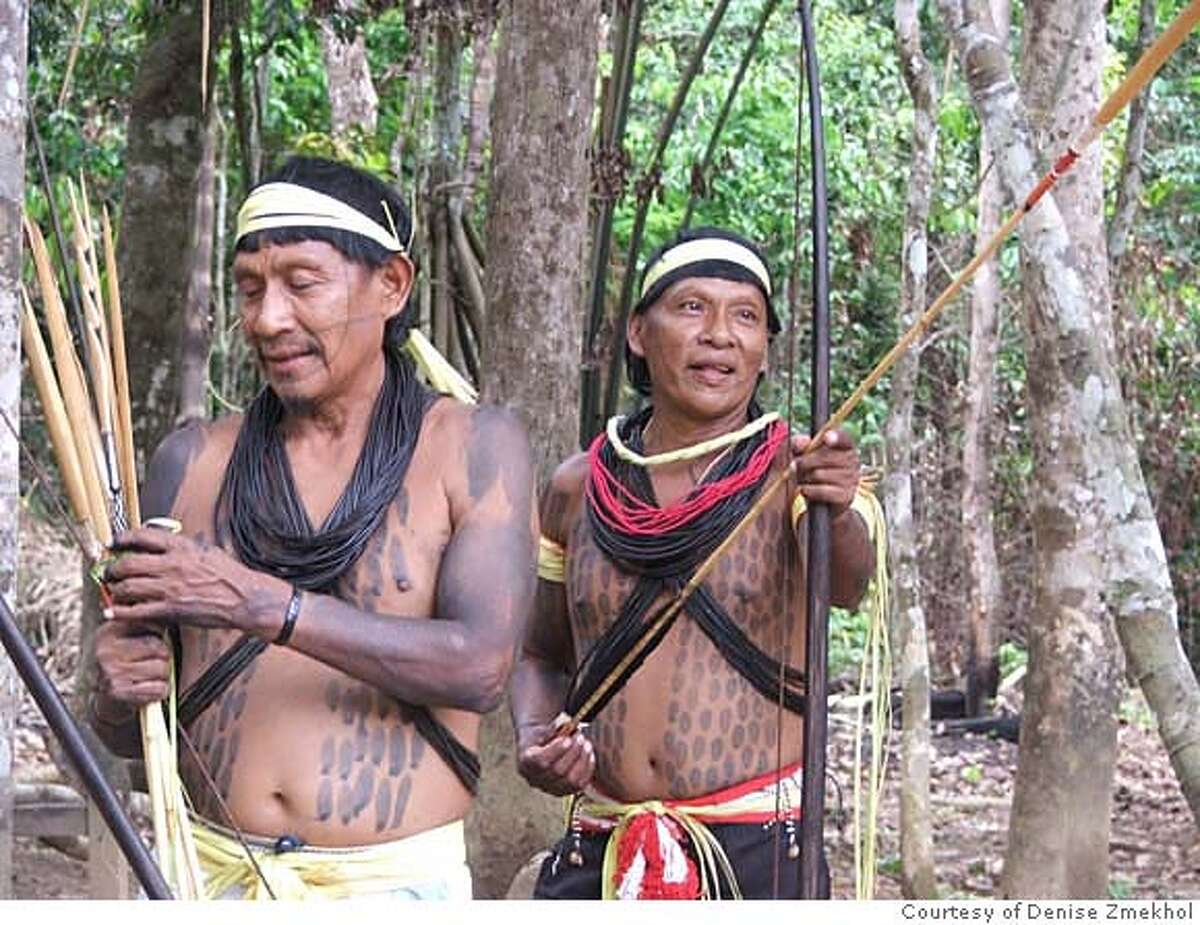 Photo of unidentified Surui warriors at Sete do Setembro Reserve in Brazil. Photo Courtesy Denise Zmekhol.
