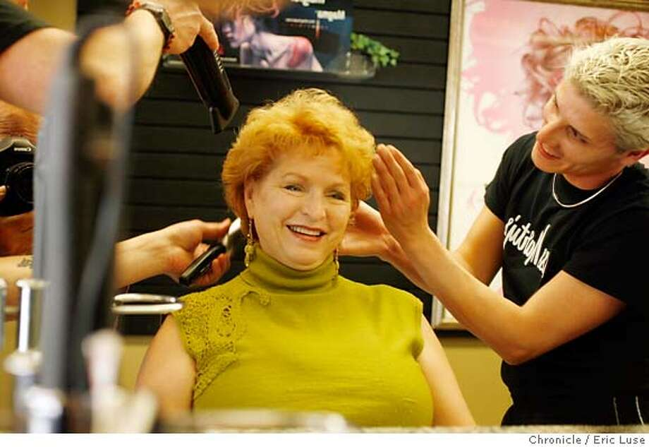 "bell0093_el.JPG  Dotti in an illustrative portrait getting the ""treatment"" from Senior's Brian Fisher (hands) and Bradlee Kieser. Dotti Bell now runs Miss Martys.  Miss Martys Hair Academy & Esthetics Institute is celebrating their 50th anniversary. Founded by Marty Schaumann in 1947 and now run by her niece, Dottie.  Photographer:  Eric Luse / The Chronicle names cq from the source, Dottie  Marty Schaumann  Dotti Bell  Brian Fisher  Bradlee Kieser MANDATORY CREDIT FOR PHOTOG AND SF CHRONICLE/NO SALES-MAGS OUT Photo: Eric Luse"